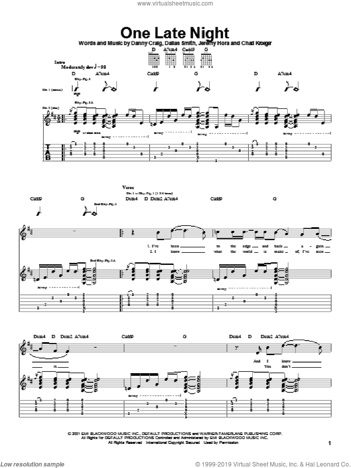 One Late Night sheet music for guitar (tablature) by Default, Chad Kroeger, Dallas Smith and Danny Craig, intermediate skill level