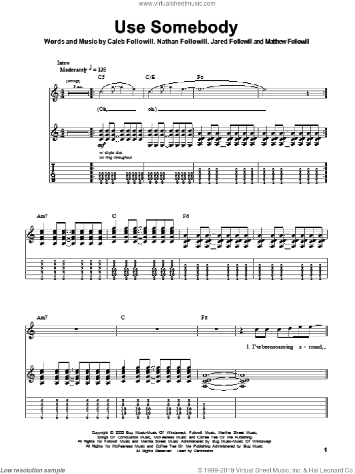 Use Somebody sheet music for guitar (tablature, play-along) by Nathan Followill, Kings Of Leon, Caleb Followill and Matthew Followill. Score Image Preview.