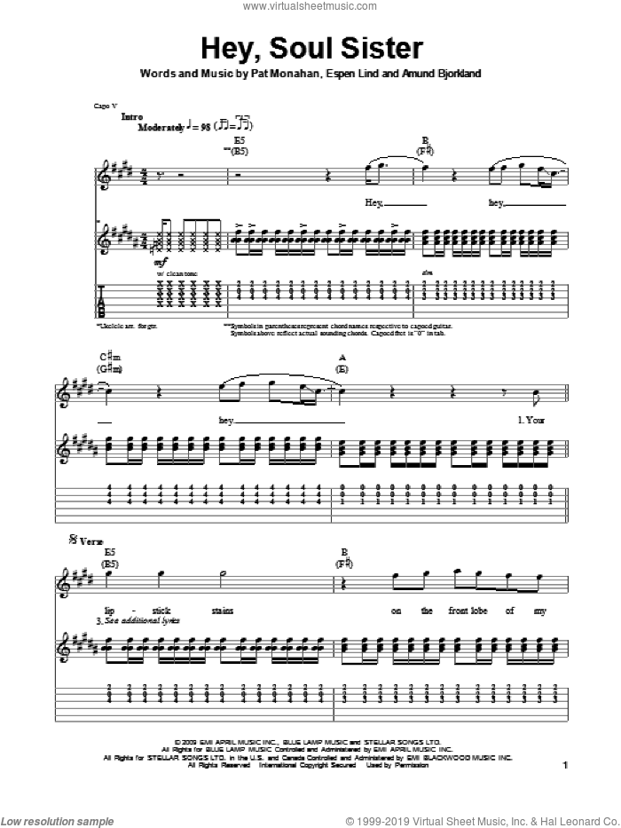 Hey, Soul Sister sheet music for guitar (tablature, play-along) by Pat Monahan, Train and Amund Bjorklund. Score Image Preview.