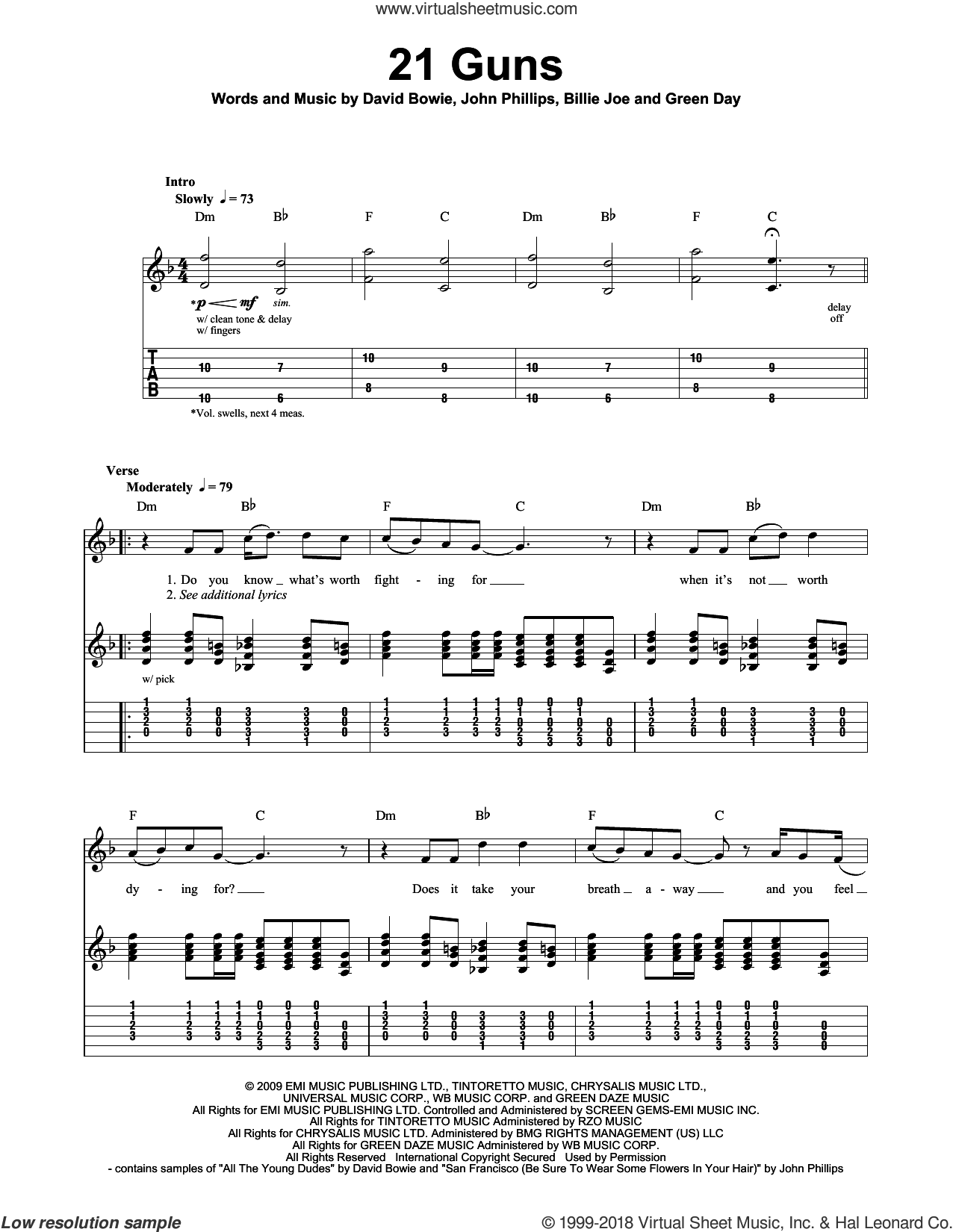 21 Guns sheet music for guitar (tablature, play-along) by Mike Pritchard, Green Day, Billie Joe Armstrong, David Bowie, Frank Wright and John Phillips