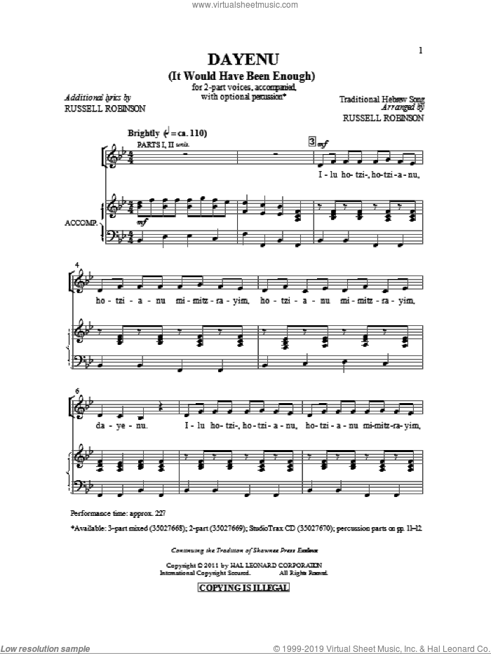 Dayeinu sheet music for choir (2-Part) by Russell Robinson and Miscellaneous, intermediate duet. Score Image Preview.