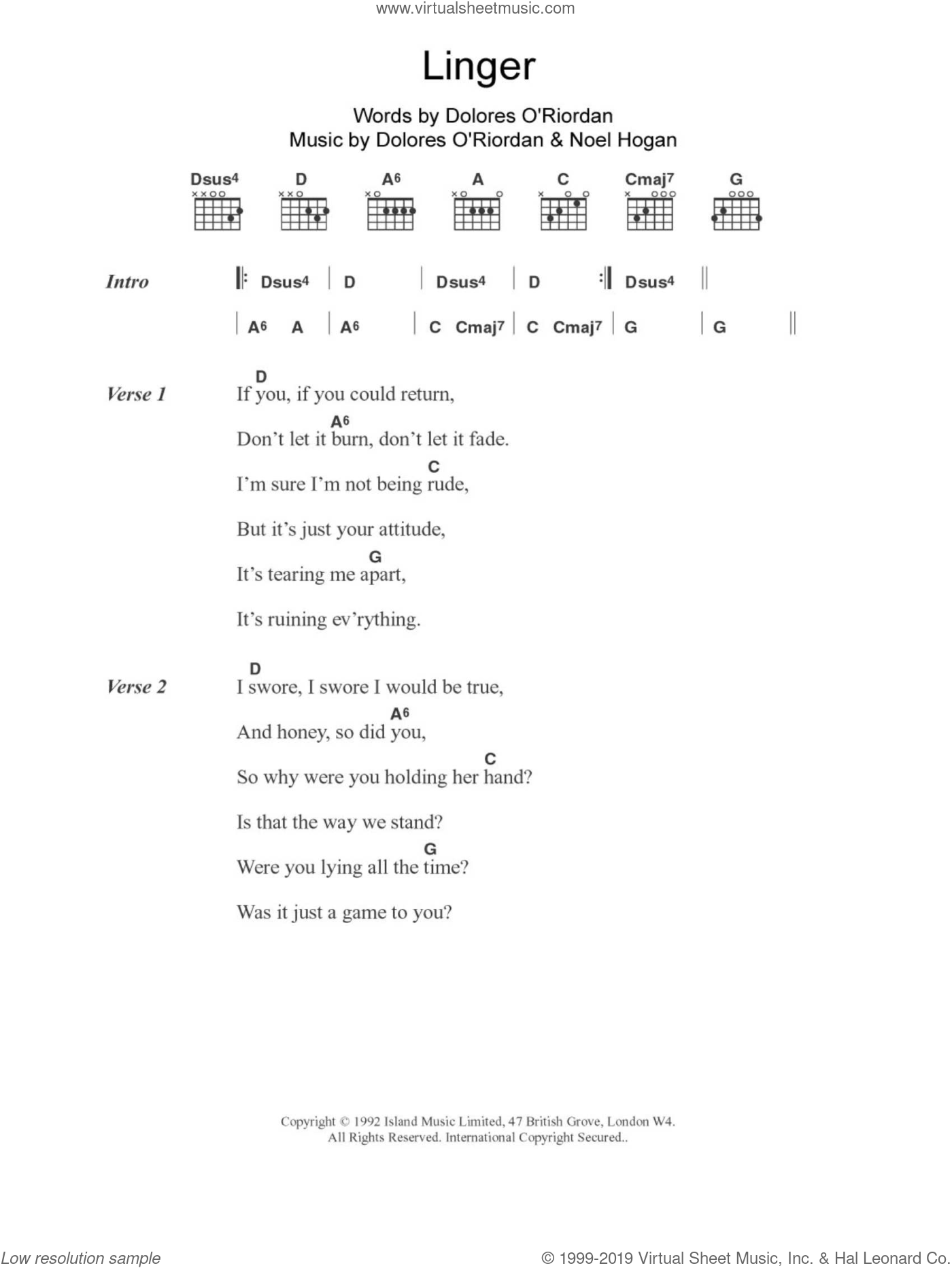 Linger sheet music for guitar (chords, lyrics, melody) by Noel Hogan
