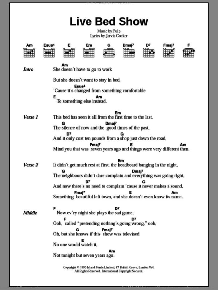 Live Bed Show sheet music for guitar (chords) by Pulp and Jarvis Cocker, intermediate skill level