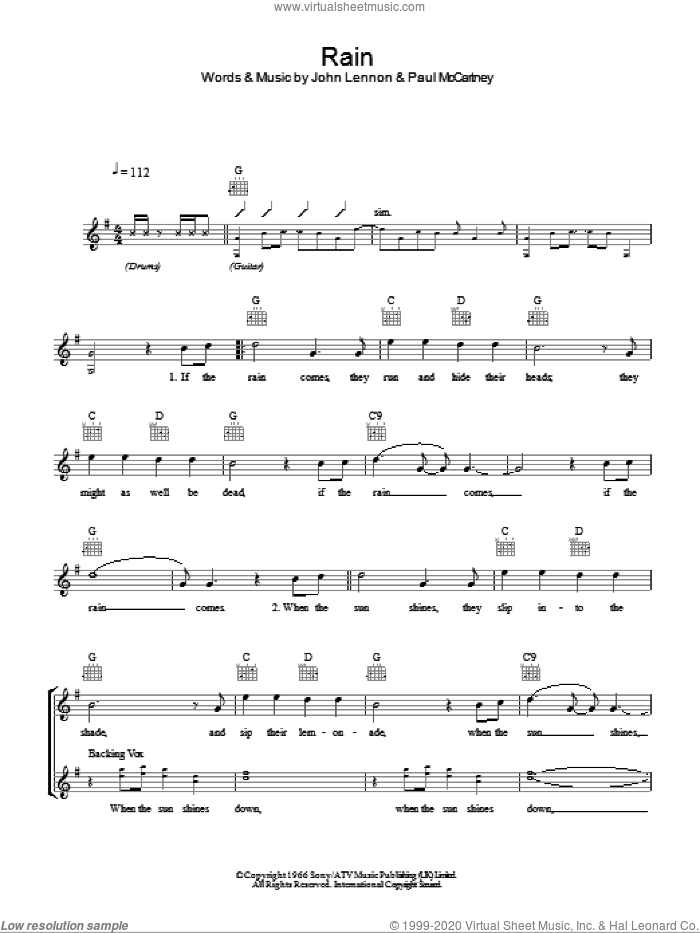 Rain sheet music for voice and other instruments (fake book) by Paul McCartney, The Beatles and John Lennon. Score Image Preview.