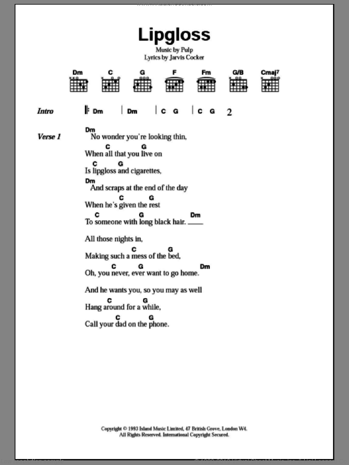Lipgloss sheet music for guitar (chords) by Pulp and Jarvis Cocker, intermediate skill level
