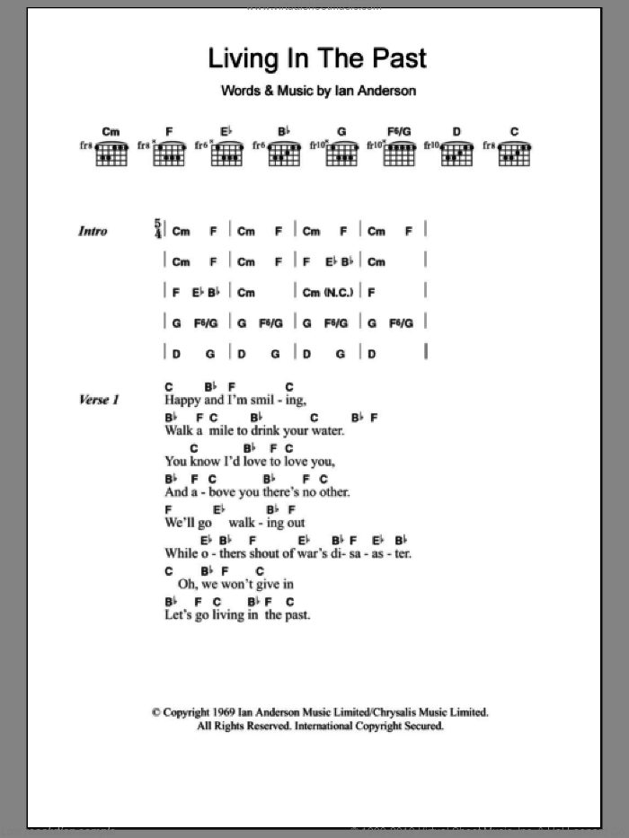 Living In The Past sheet music for guitar solo (chords, lyrics, melody) by Ian Anderson