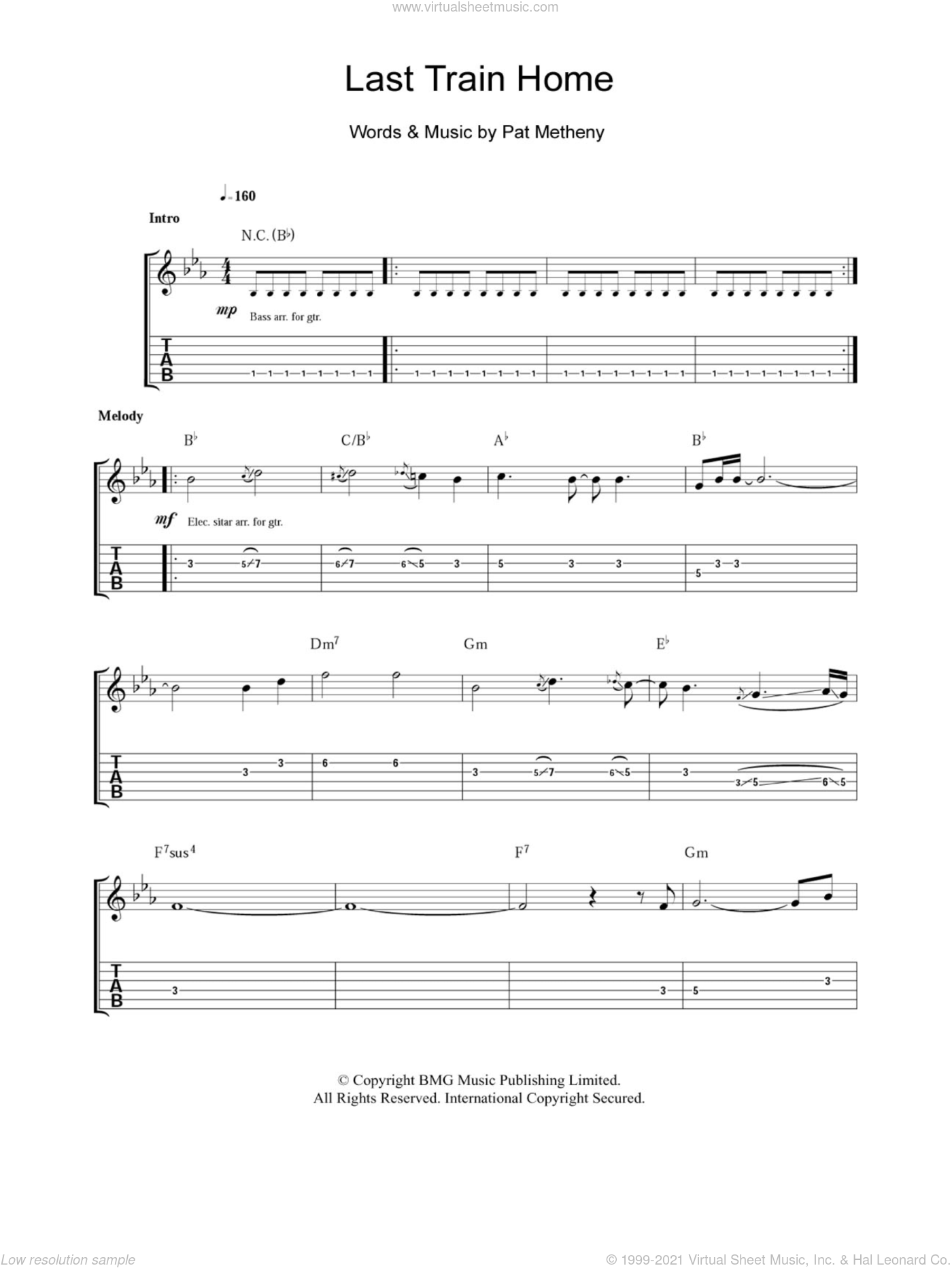Last Train Home sheet music for guitar (tablature) by Pat Metheny. Score Image Preview.