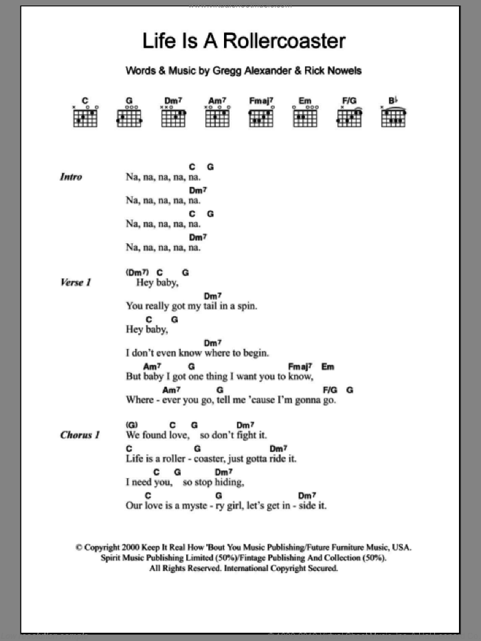 Life Is A Rollercoaster sheet music for guitar (chords) by Ronan Keating, Gregg Alexander and Rick Nowels, intermediate skill level