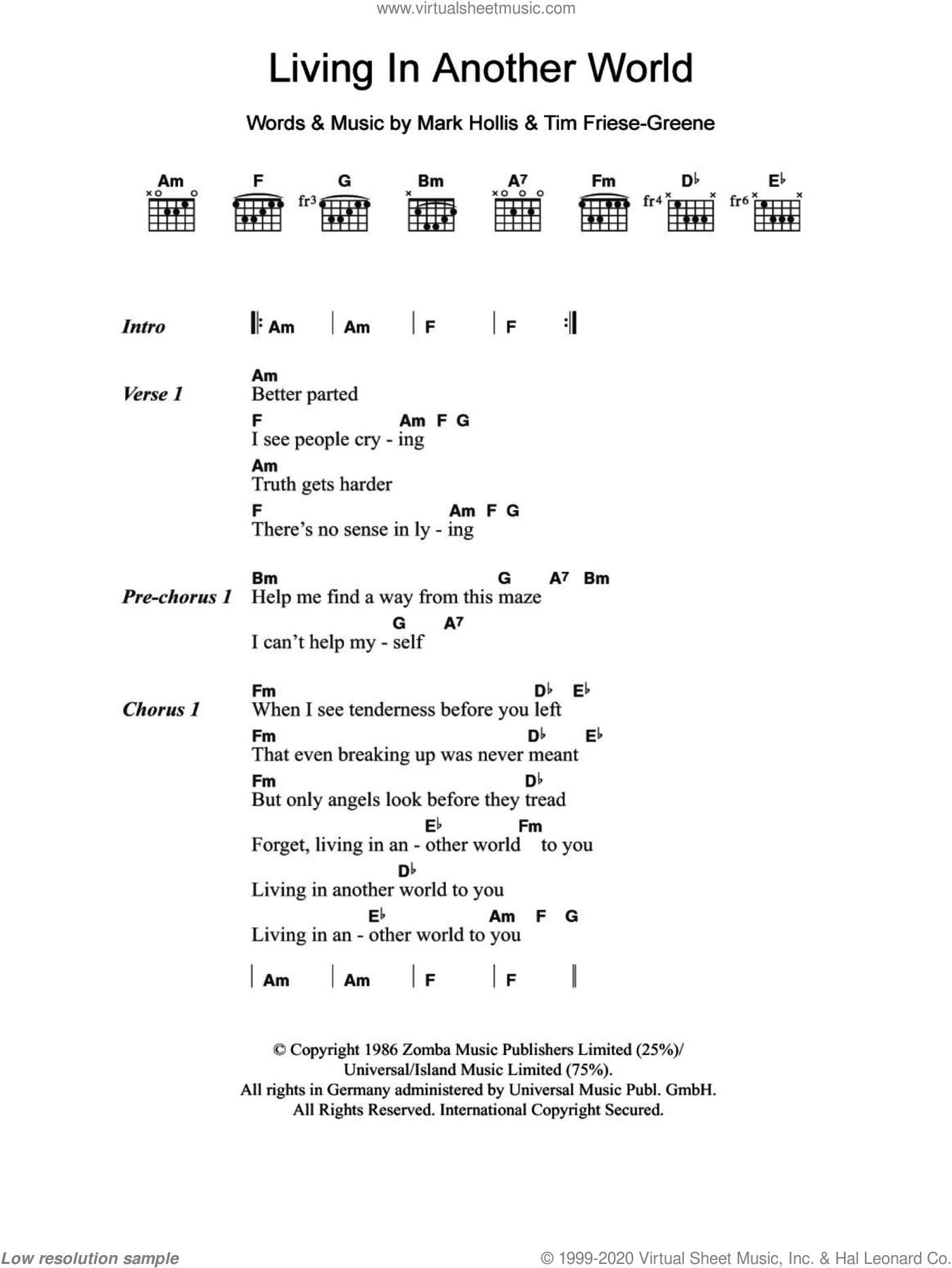 Living In Another World sheet music for guitar (chords) by Tim Friese-Greene and Mark Hollis. Score Image Preview.