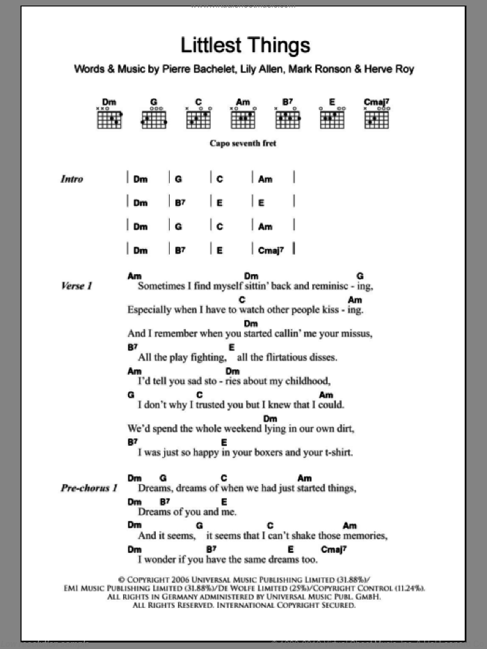 Littlest Things sheet music for guitar (chords) by Lily Allen, Herve Roy, Mark Ronson and Pierre Bachelet, intermediate. Score Image Preview.