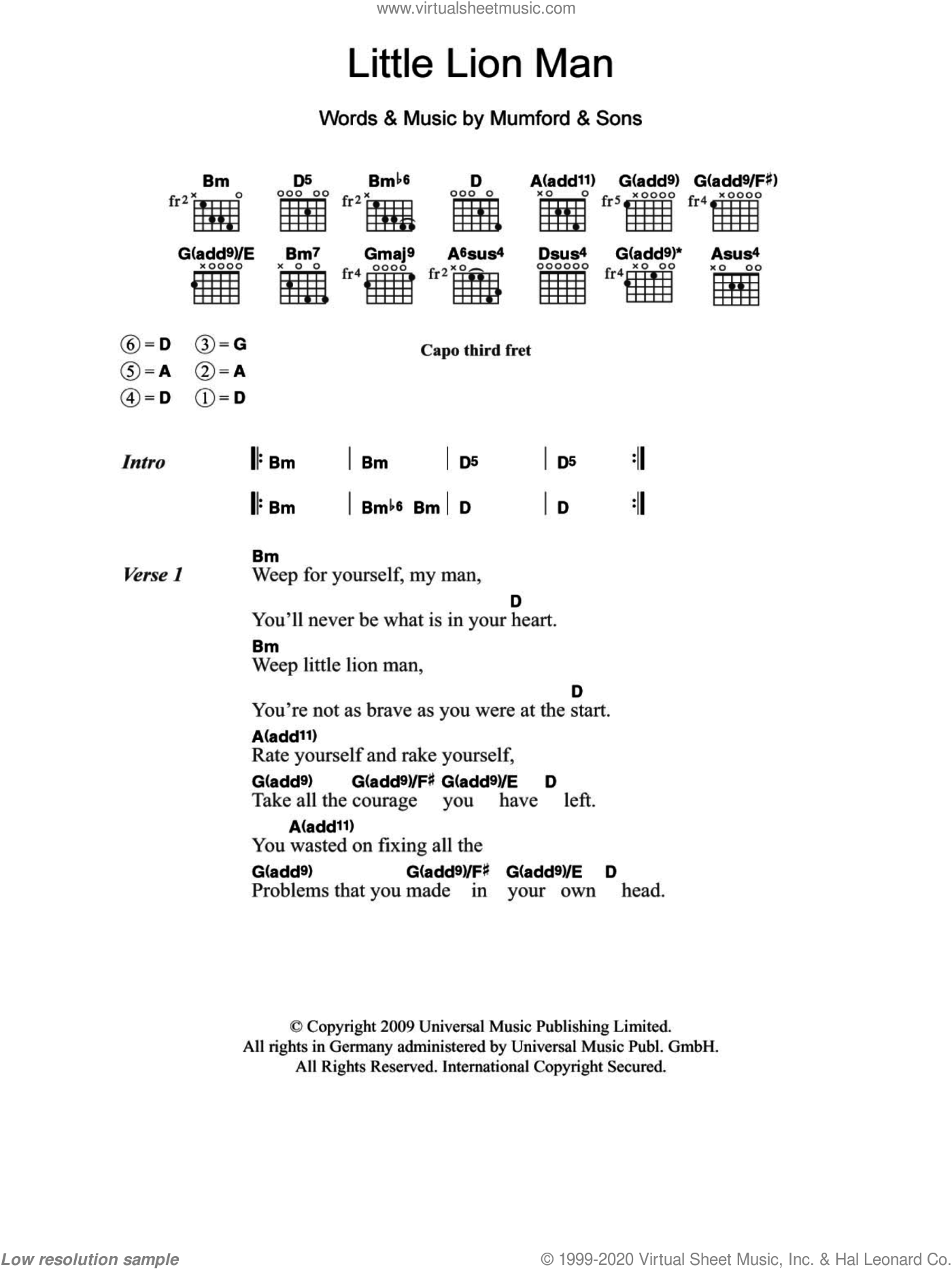 Little Lion Man sheet music for guitar (chords) by Mumford & Sons, intermediate skill level