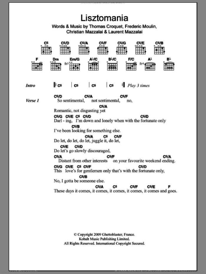 Lisztomania sheet music for guitar (chords) by Phoenix. Score Image Preview.
