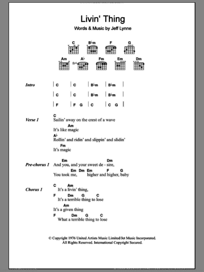 Livin' Thing sheet music for guitar (chords) by Jeff Lynne. Score Image Preview.