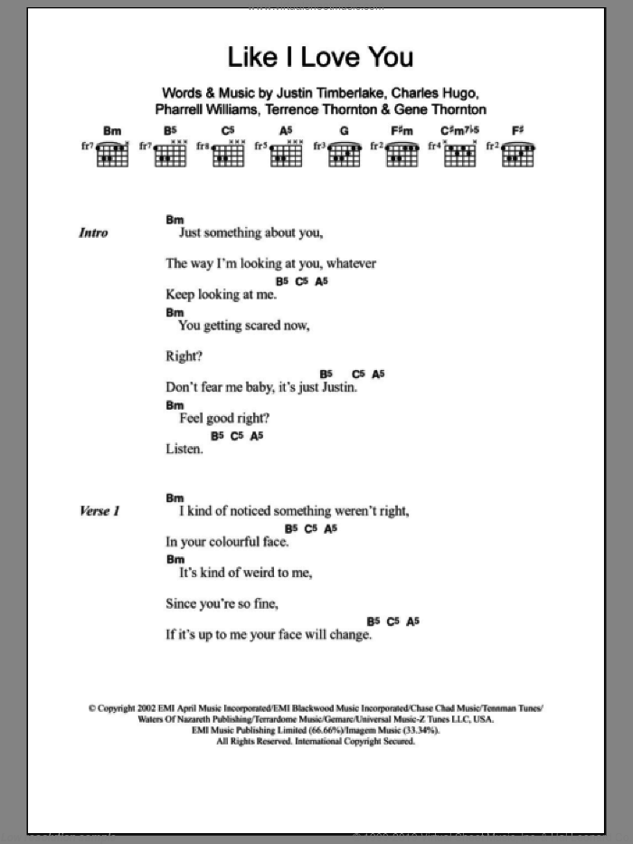 Like I Love You sheet music for guitar (chords) by Terrence Thornton, Charles Hugo, Justin Timberlake and Pharrell Williams. Score Image Preview.