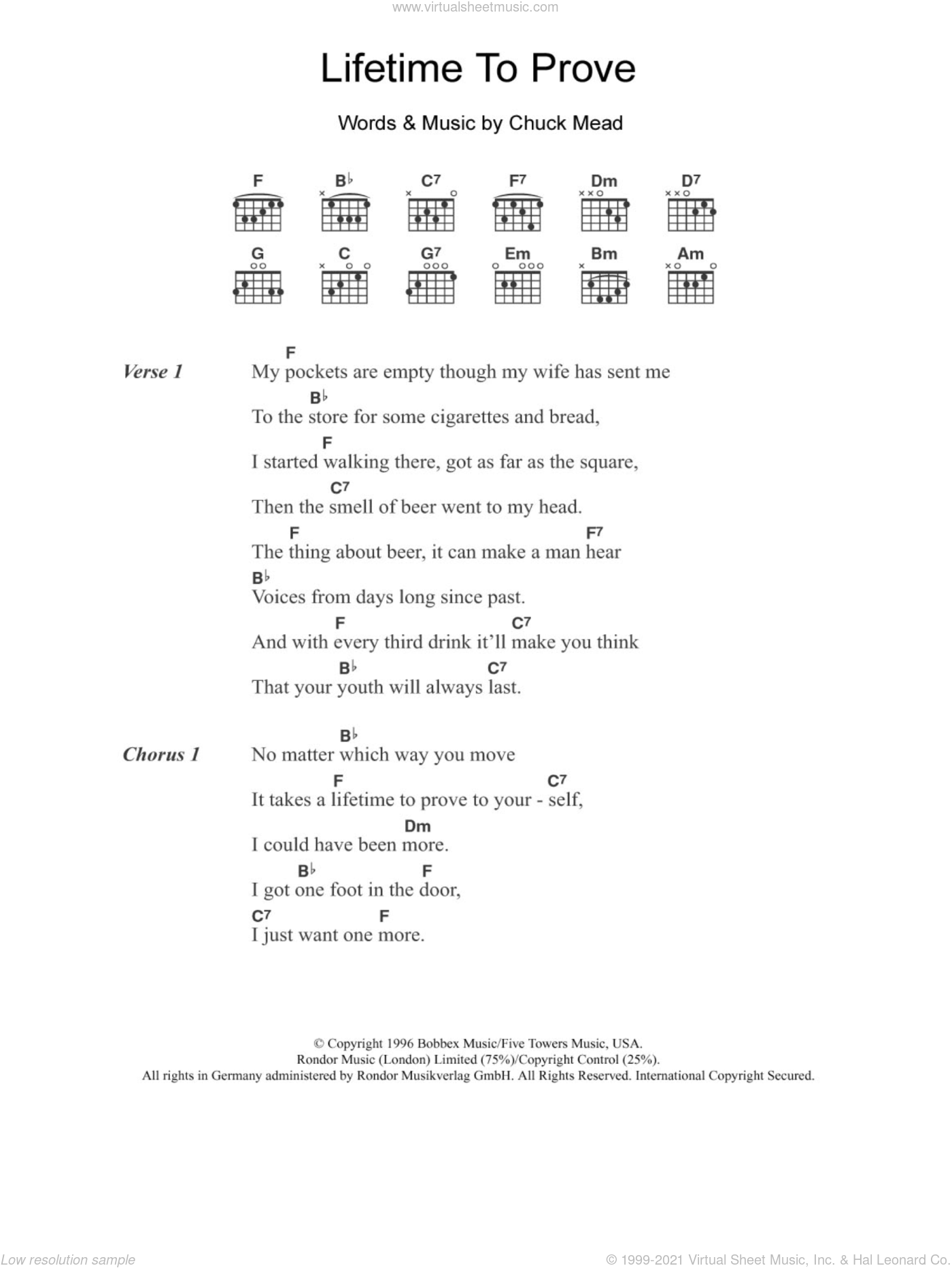 Lifetime To Prove sheet music for guitar (chords, lyrics, melody) by Chuck Mead