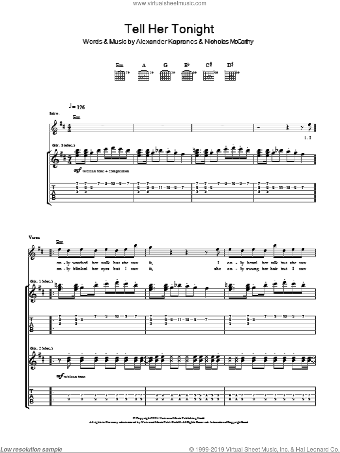 Tell Her Tonight sheet music for guitar (tablature) by Franz Ferdinand, Alexander Kapranos and Nicholas McCarthy, intermediate