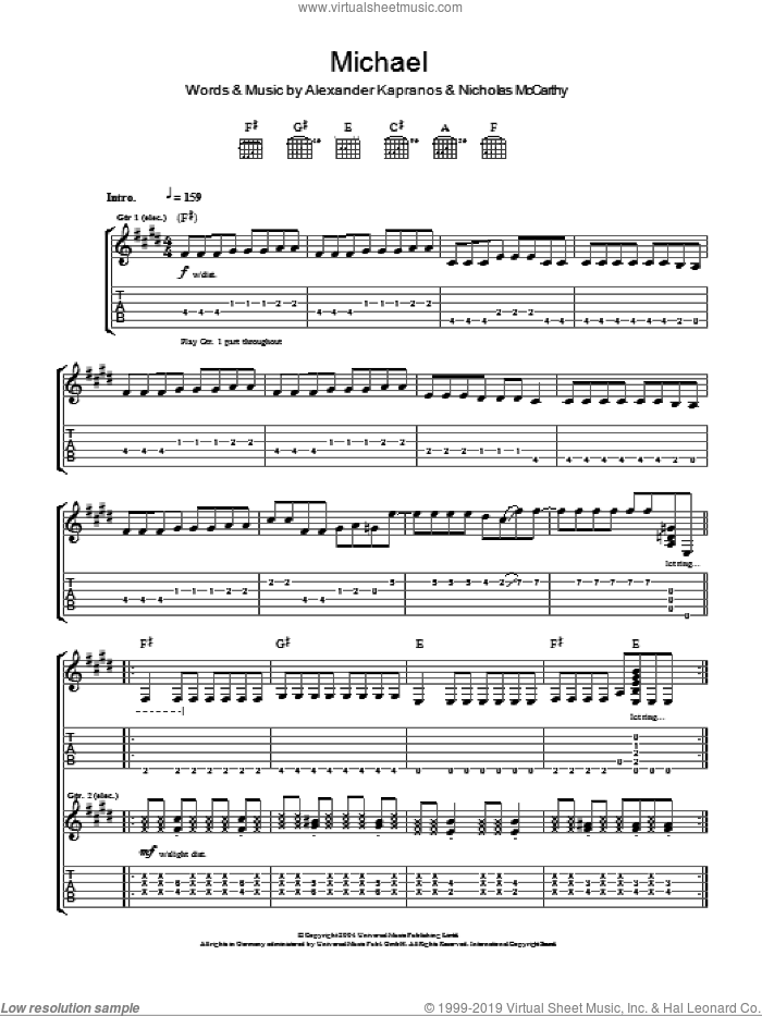 Michael sheet music for guitar (tablature) by Franz Ferdinand. Score Image Preview.