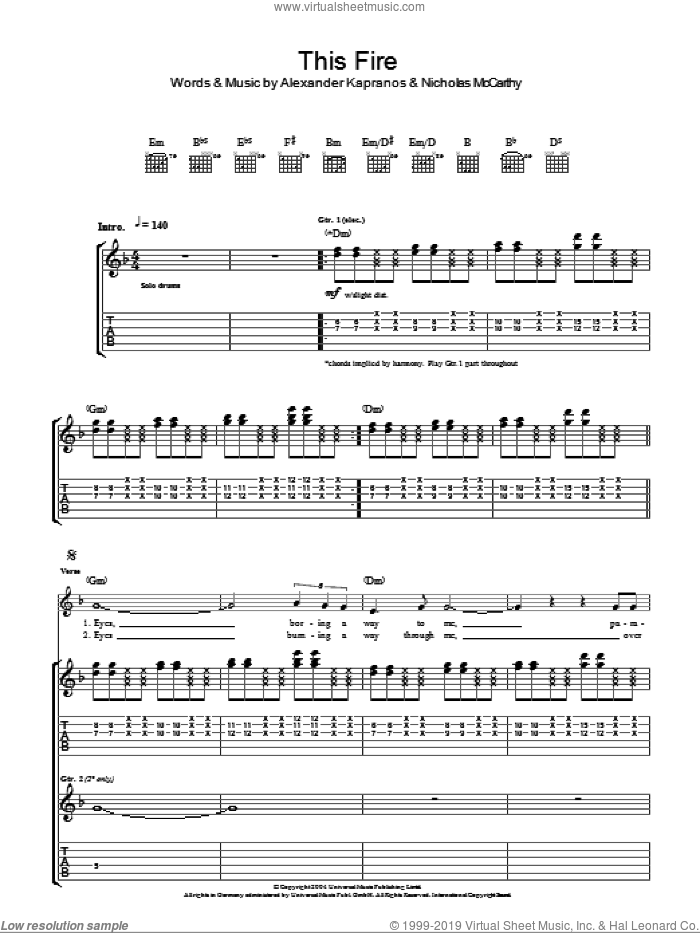 This Fire sheet music for guitar (tablature) by Nicholas McCarthy, Franz Ferdinand and Alexander Kapranos. Score Image Preview.
