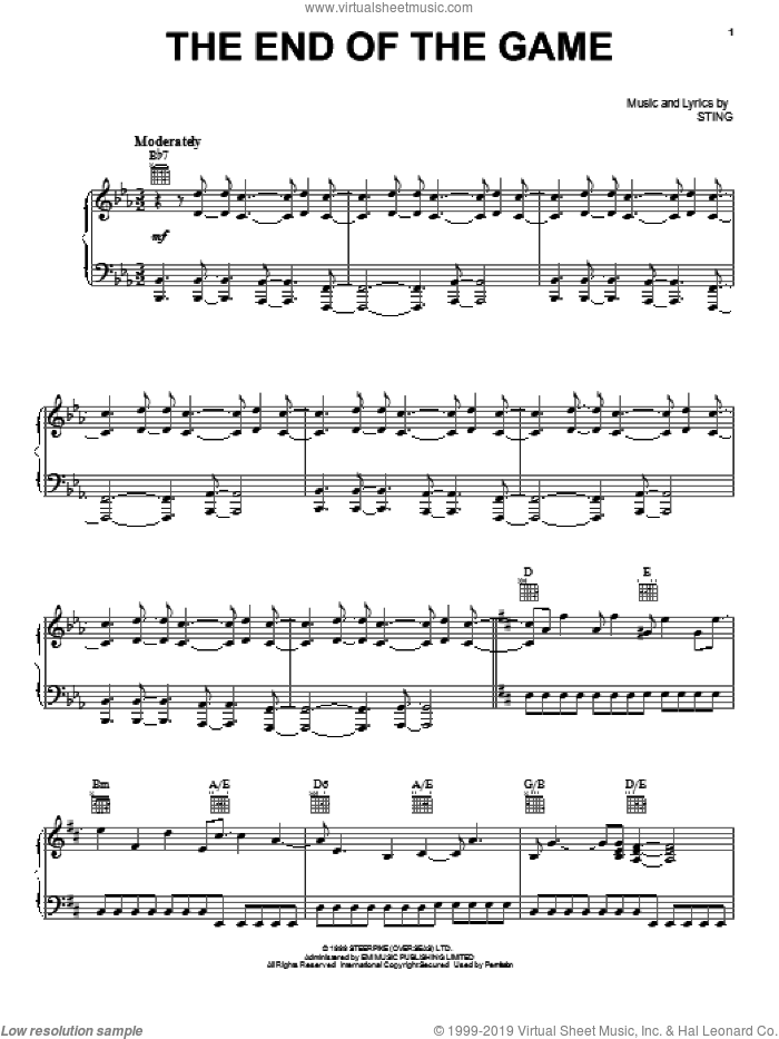 The End Of The Game sheet music for voice, piano or guitar by Sting
