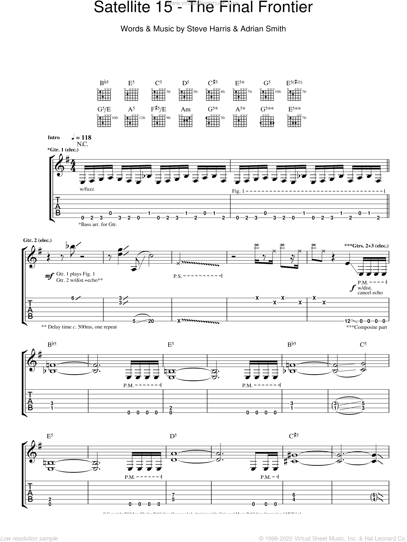 Satellite 15 - The Final Frontier sheet music for guitar (tablature) by Steve Harris, Iron Maiden and Adrian Smith. Score Image Preview.
