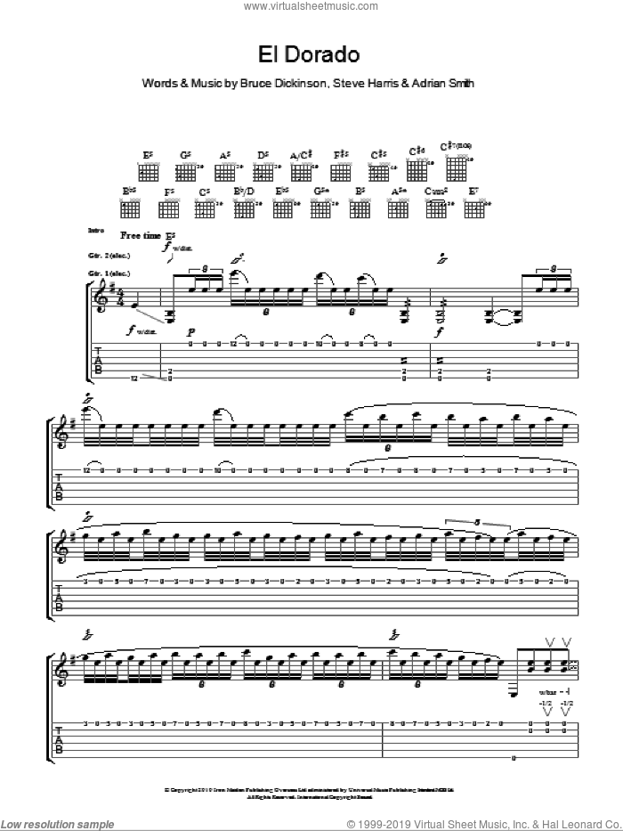 El Dorado sheet music for guitar (tablature) by Steve Harris, Iron Maiden, Adrian Smith and Bruce Dickinson. Score Image Preview.