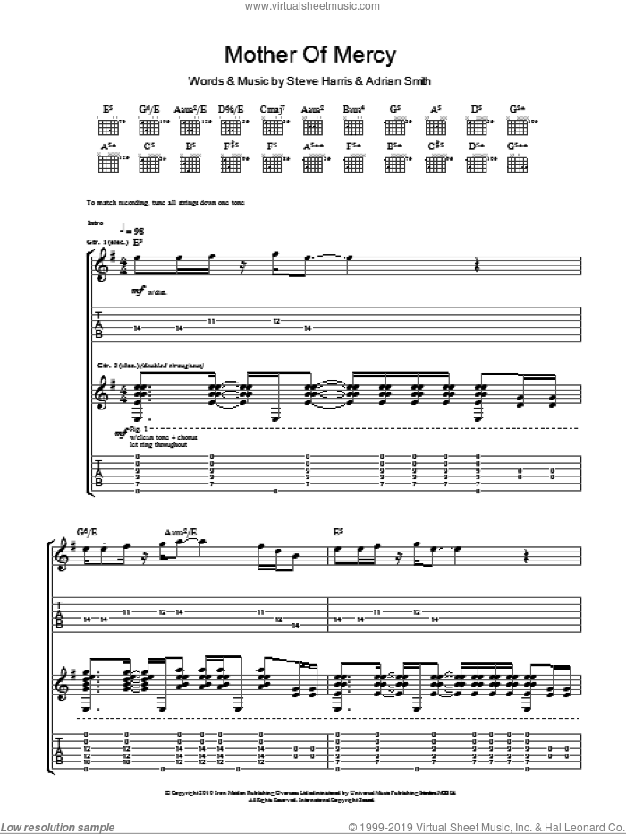 Mother Of Mercy sheet music for guitar (tablature) by Iron Maiden, Adrian Smith and Steve Harris. Score Image Preview.
