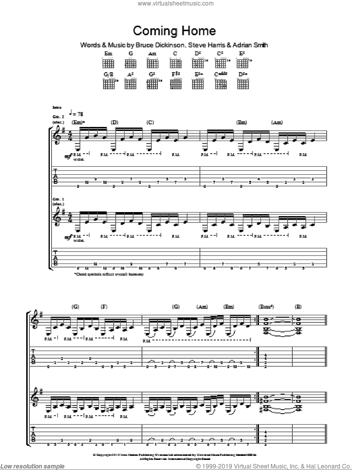 Coming Home sheet music for guitar (tablature) by Iron Maiden, Adrian Smith, Bruce Dickinson and Steve Harris. Score Image Preview.