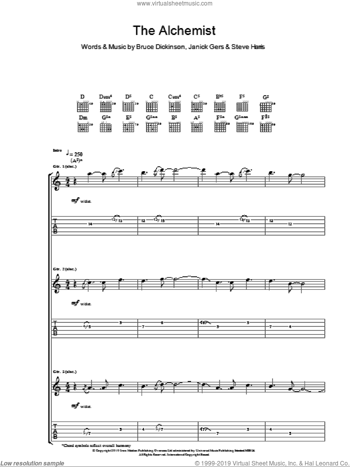 The Alchemist sheet music for guitar (tablature) by Steve Harris
