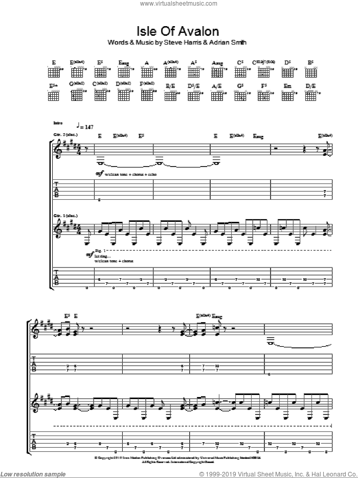 Isle Of Avalon sheet music for guitar (tablature) by Steve Harris