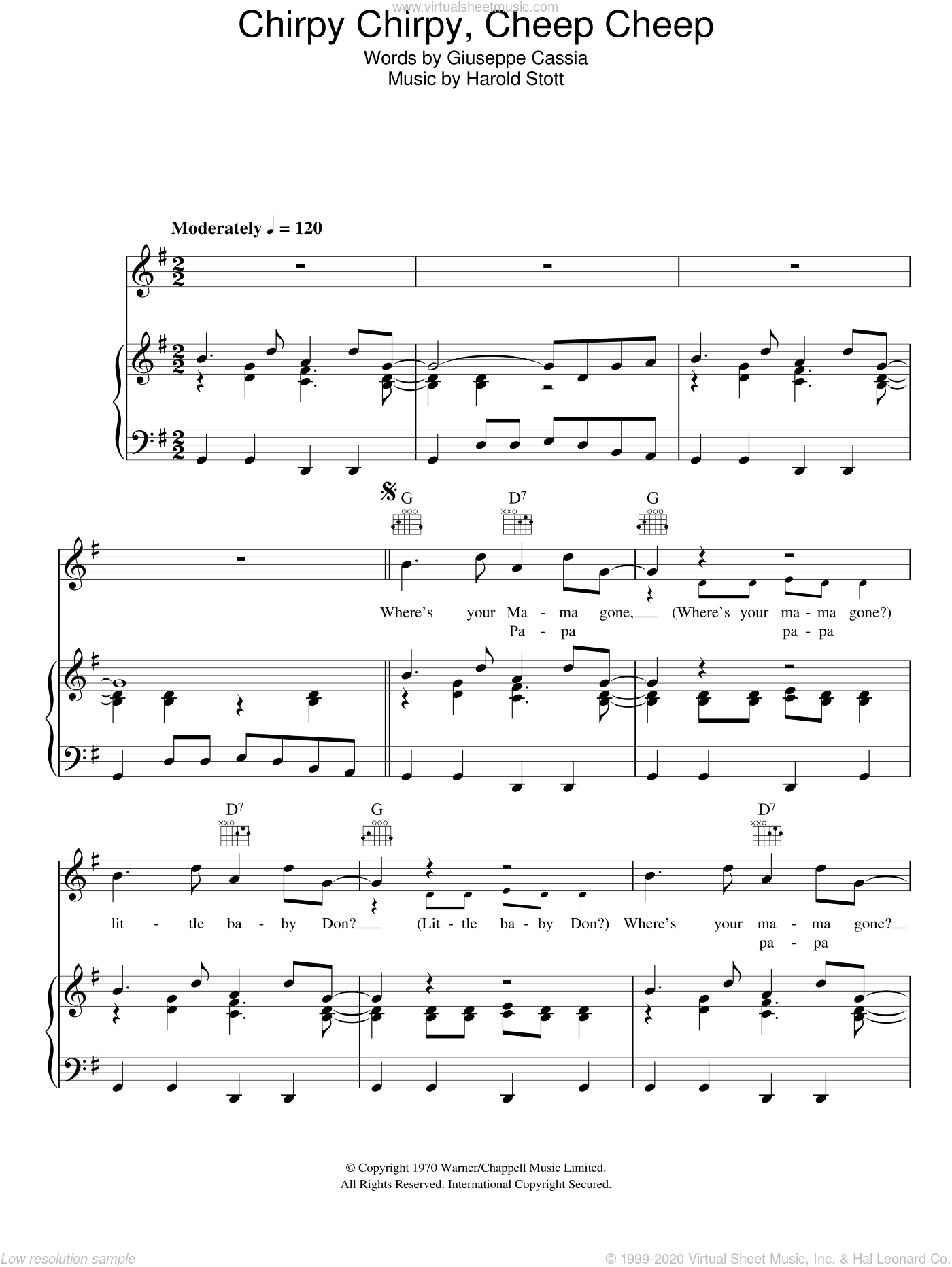 Chirpy Chirpy Cheep Cheep sheet music for voice, piano or guitar by Harold Stott. Score Image Preview.