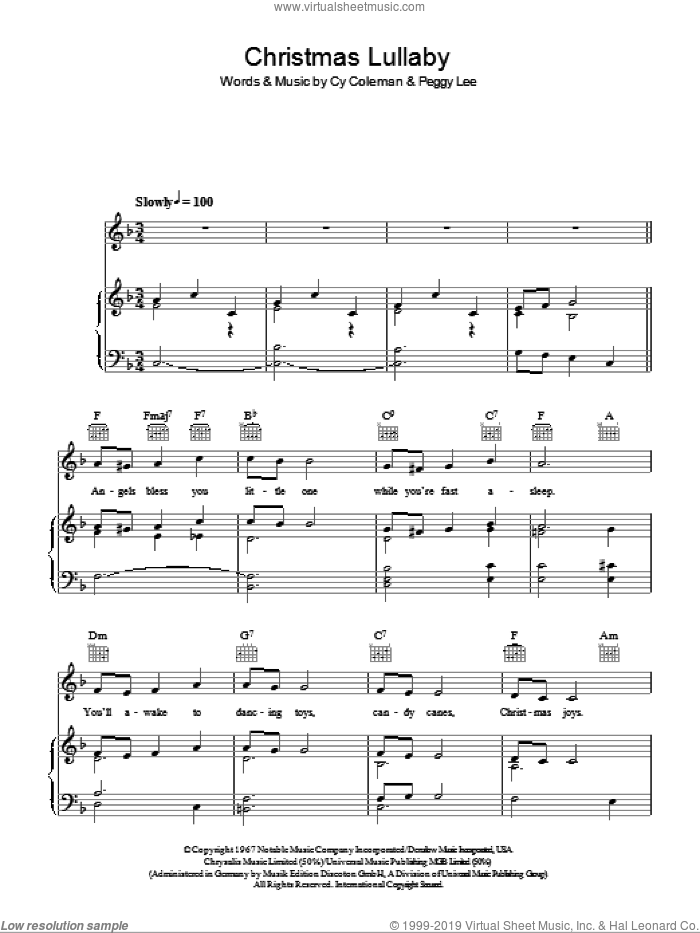 Christmas Lullaby sheet music for voice, piano or guitar by Cy Coleman and Peggy Lee. Score Image Preview.