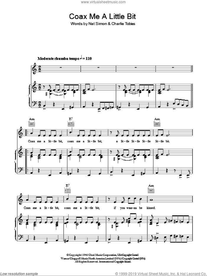 Coax Me A Little Bit sheet music for voice, piano or guitar by Dinah Shore, Charles Tobias and Nat Simon, intermediate skill level