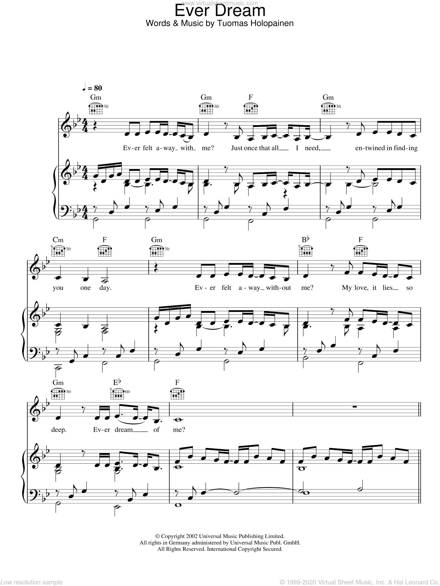 Ever Dream sheet music for voice, piano or guitar by Nightwish, intermediate voice, piano or guitar. Score Image Preview.