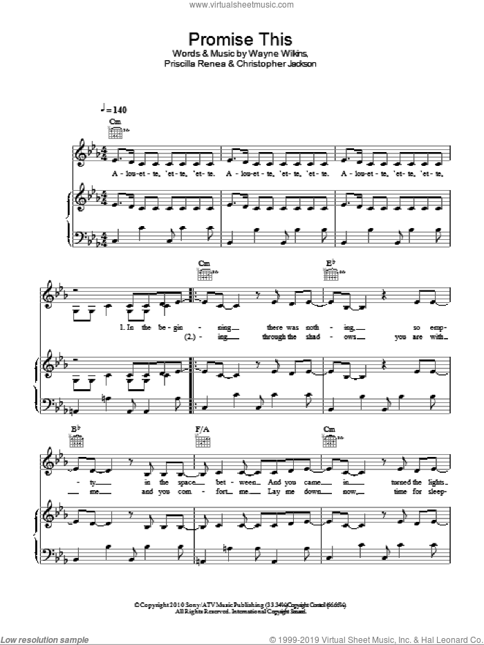 Promise This sheet music for voice, piano or guitar by Wayne Wilkins and Priscilla Renea. Score Image Preview.