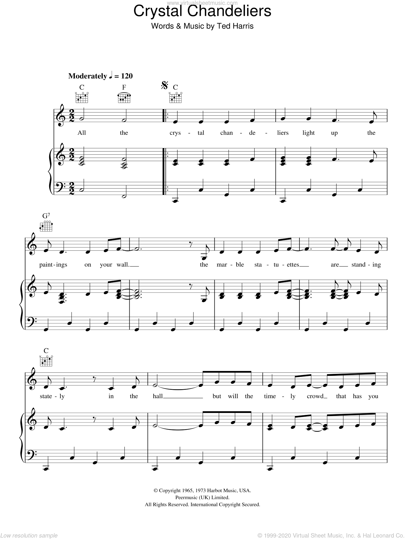 Crystal Chandeliers sheet music for voice, piano or guitar by Ted Harris. Score Image Preview.