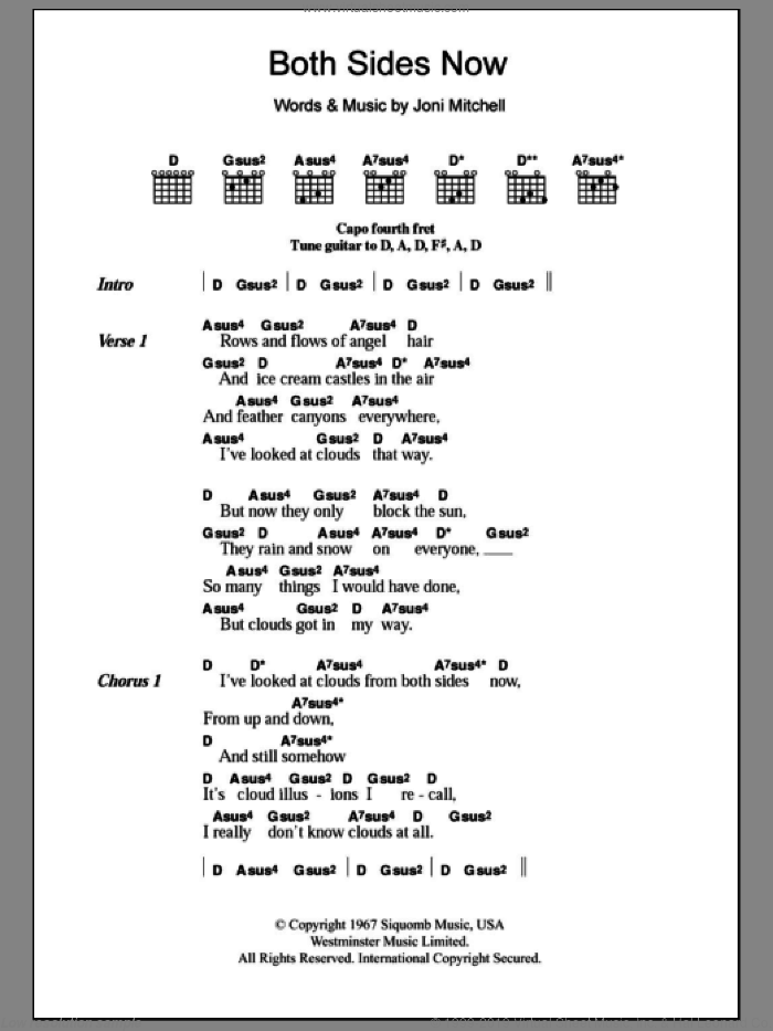 Both Sides Now sheet music for guitar (chords) by Joni Mitchell
