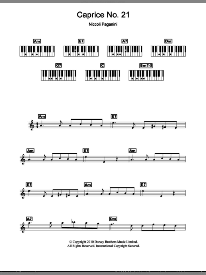 Caprice No. 21 sheet music for piano solo (chords, lyrics, melody) by Nicolo Paganini