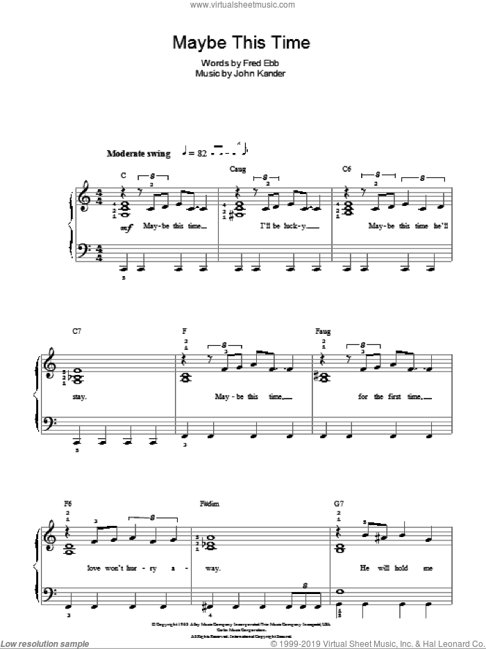 Maybe This Time sheet music for piano solo by Kander & Ebb, Fred Ebb and John Kander, easy. Score Image Preview.