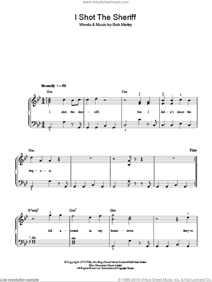 I Shot The Sheriff sheet music for piano solo by Bob Marley. Score Image Preview.