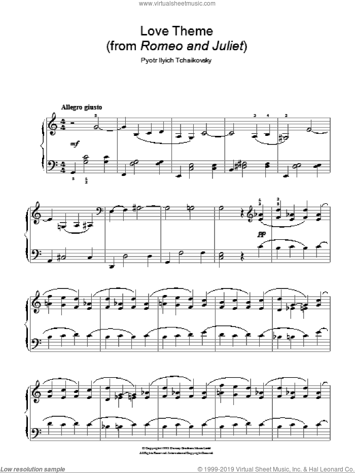 Romeo And Juliet sheet music for piano solo by Pyotr Ilyich Tchaikovsky, classical score, easy. Score Image Preview.