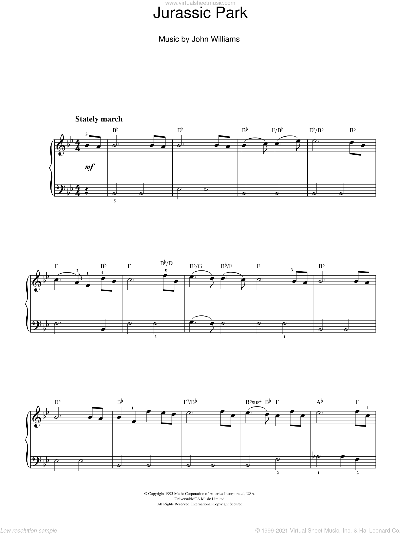 Jurassic Park (Theme) sheet music for piano solo by John Williams, easy skill level