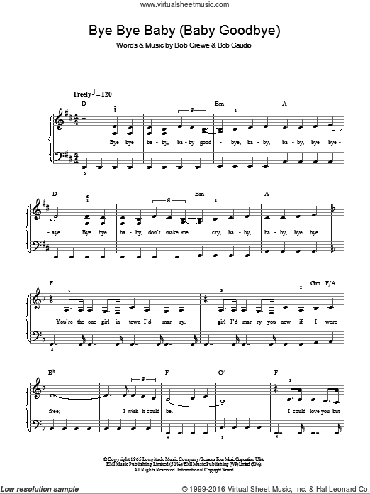 Bye Bye Baby (Baby Goodbye) sheet music for piano solo by Bob Gaudio and Bob Crewe. Score Image Preview.