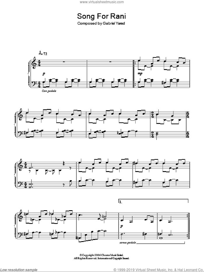 Song For Rani sheet music for piano solo by Gabriel Yared. Score Image Preview.