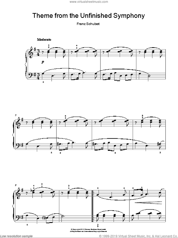 Theme From The Unfinished Symphony sheet music for piano solo by Franz Schubert, classical score, easy piano. Score Image Preview.