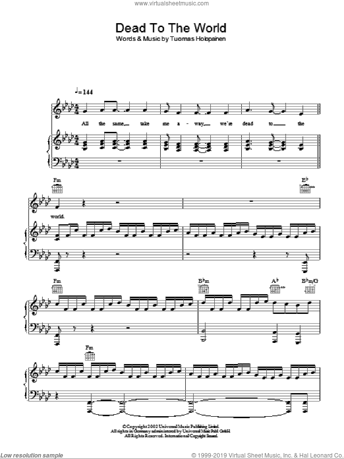 Dead To The World sheet music for voice, piano or guitar by Tuomas Holopainen. Score Image Preview.