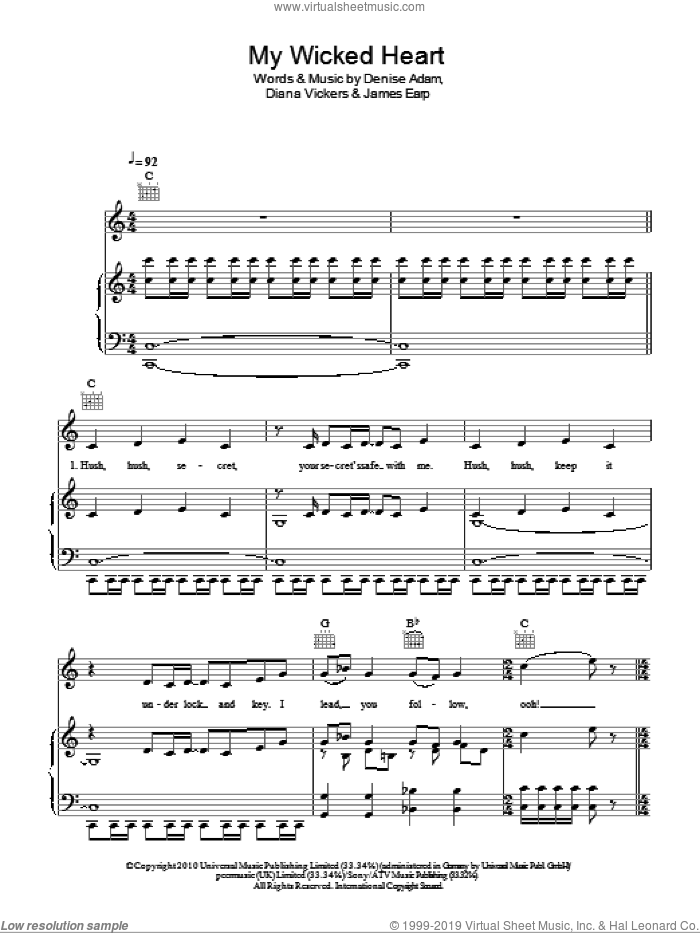 My Wicked Heart sheet music for voice, piano or guitar by James Earp and Denise Adam