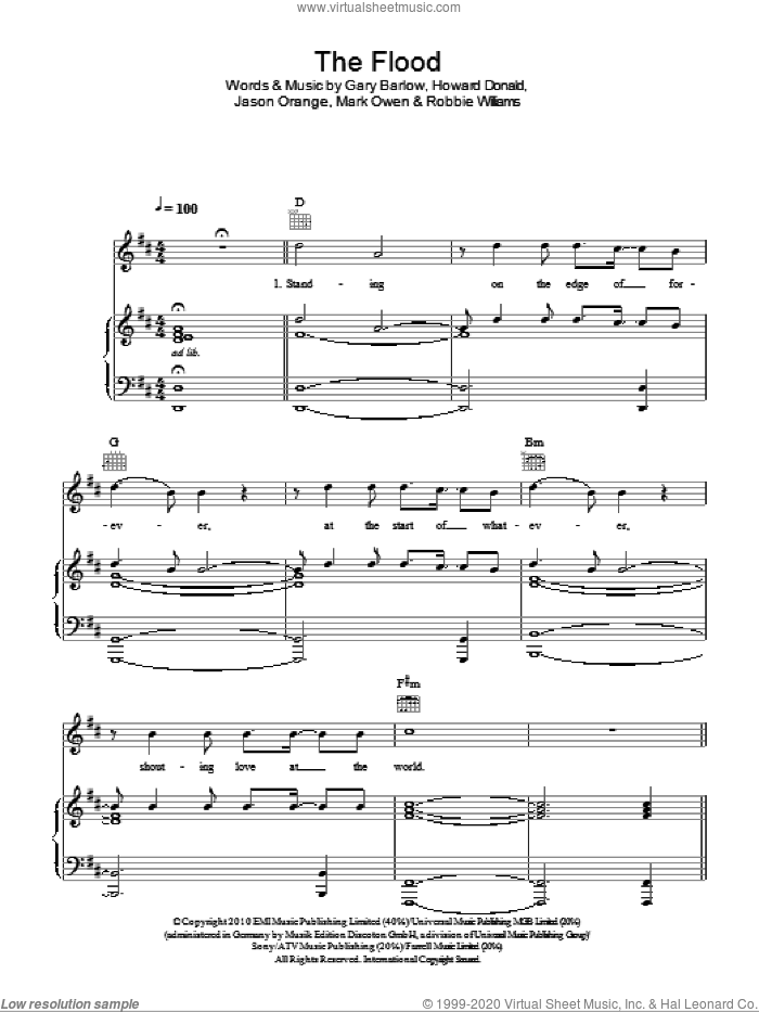 The Flood sheet music for voice, piano or guitar by Robbie Williams, Take That, Gary Barlow and Mark Owen. Score Image Preview.