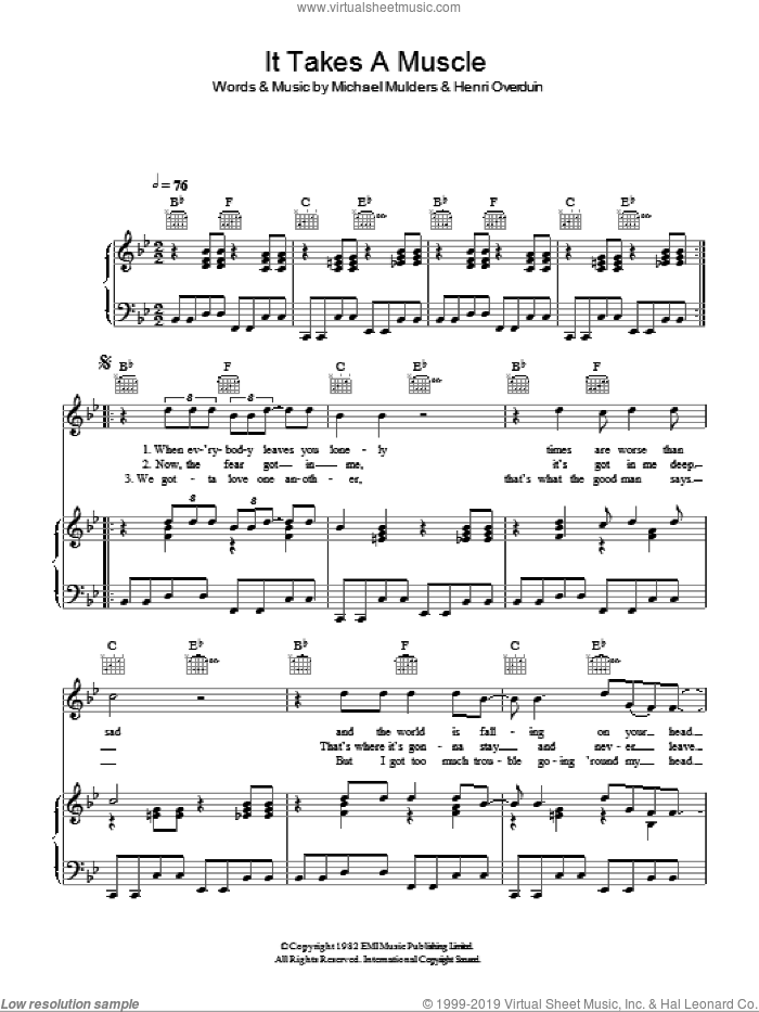 It Takes A Muscle sheet music for voice, piano or guitar by M.I.A., Henri Overduin and Michael Mulders, intermediate