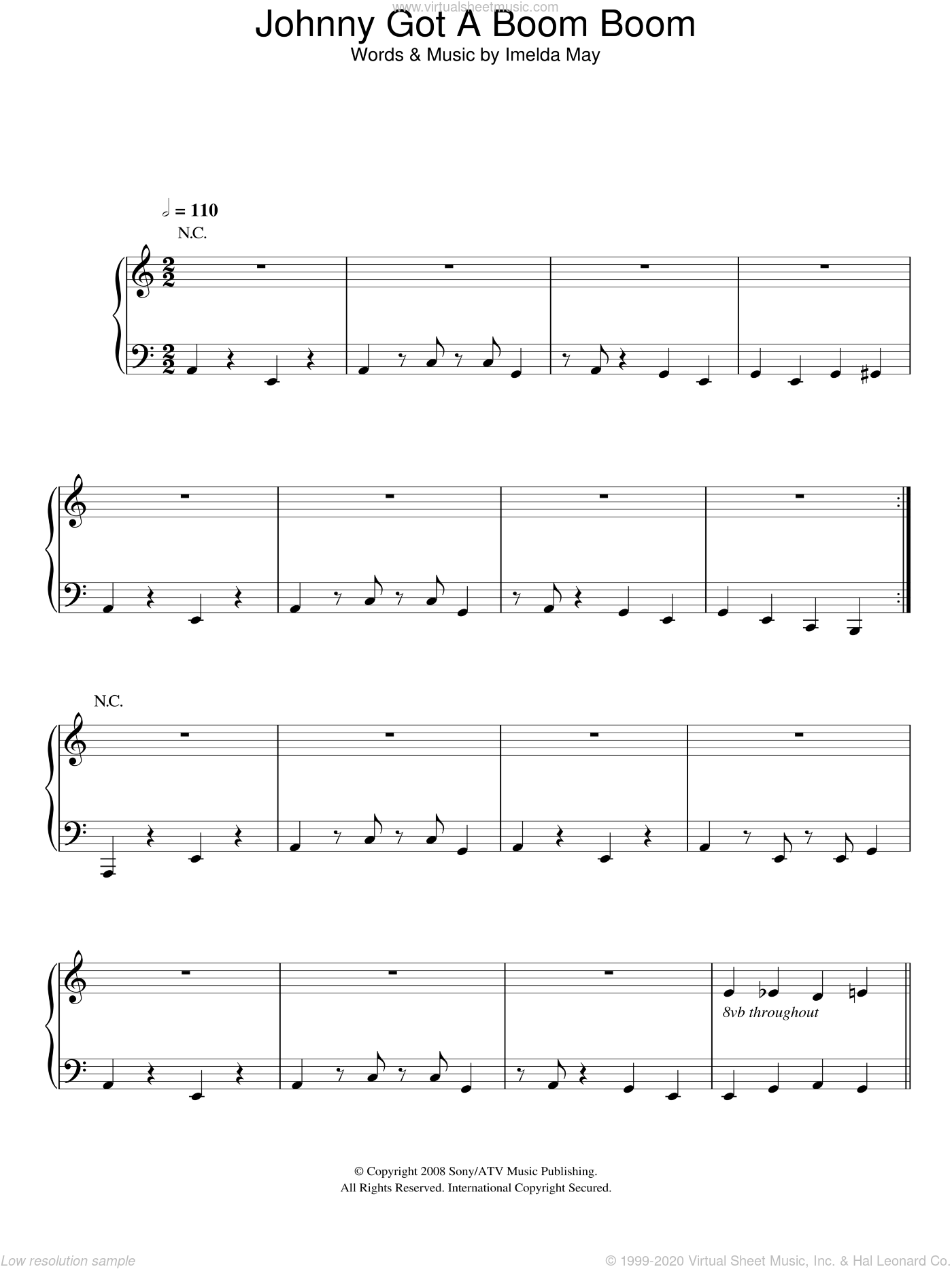 Johnny Got A Boom Boom sheet music for voice, piano or guitar by Imelda May. Score Image Preview.