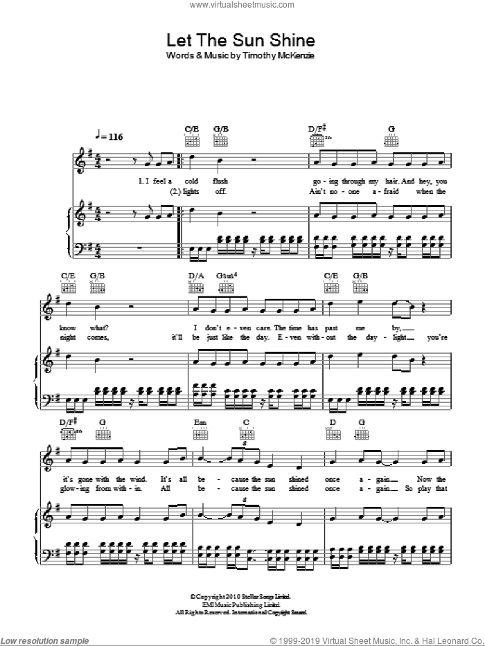 Let The Sun Shine sheet music for voice, piano or guitar by Labrinth and Timothy McKenzie, intermediate skill level